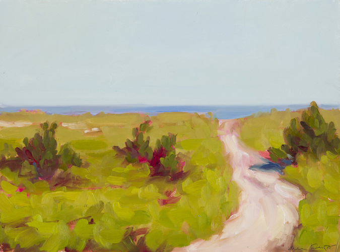 9. to the beach, oil on paper, 8x10, $425.