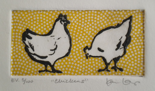 """Chickens"", etching with chin colle"