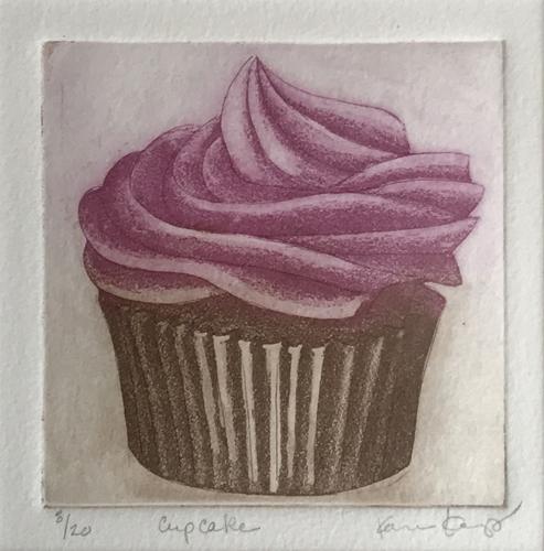 """""""Cupcake"""". etching, 4"""" x 4"""""""